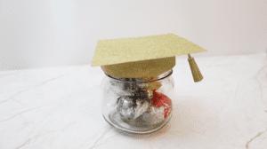 DIY Graduation Decoration Jar with grad cap on top