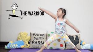 Kids yoga warrior pose