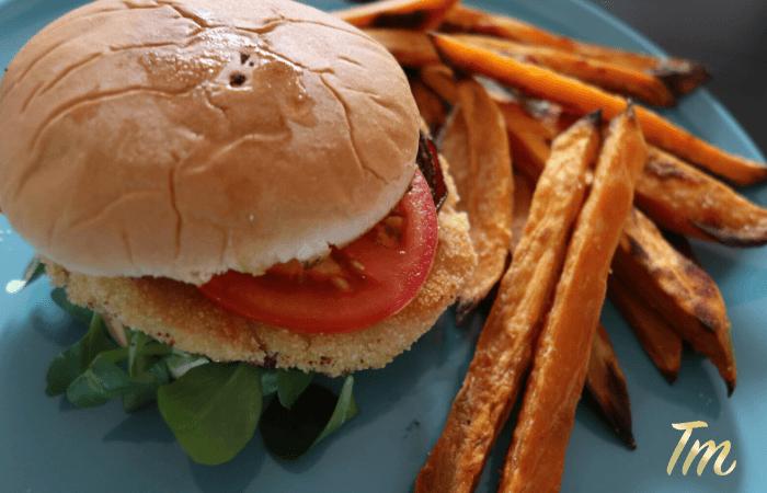 Super Bowl - Chicken Burger Recipe with Sweet Potato Fries 2