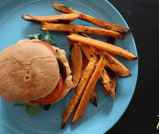Super Bowl - Chicken Burger Recipe with Sweet Potato Fries