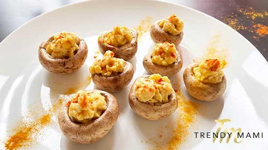 Vegan Deviled Eggs - Deviled Mushrooms